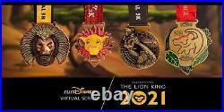 2021 runDisney Virtual Challenge The Lion King 4 MEDALS & BONUS PIN MEDAL BOX