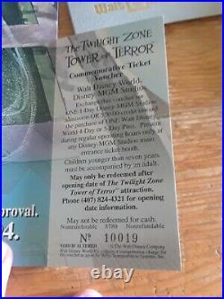 (2) WDW Disney World Tower of Terror Commemorative Ticket 1994 Twilight Zone