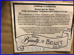 Beauty and the Beast Tenth Anniversary Framed Commemorative Pin Set 2886/3600
