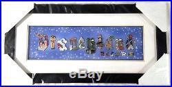 Disney 16 Pin Framed Set DLR Disneyland Resort Attraction Letters Castle