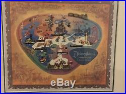 Disney 1956 Disneyland Park Map Railroad Castle Mark Twain Rocket Framed Pin Set