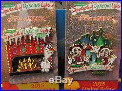 Disney 2015 Osborne Spectacle of Dancing Lights 2 Pin Set Mickey, Minnie, Olaf