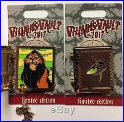 Disney 2017 Disneyland Villains Vault Story Book 5 LE Pin Set Maleficent Scar