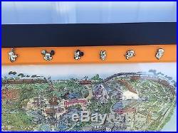 Disney 50th Anniversary DISNEYLAND ORIGINAL MAP & COMPLETE 38 BORDER PIN SET