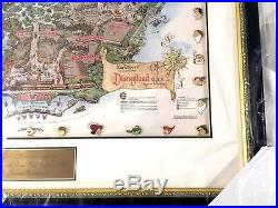 Disney Auctions Disneyland 50th Framed Map & Pins Gold Edition LE 50 RARE