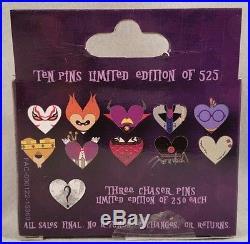 Disney Be My Villaintine Series 2 Complete 13 Pin Set Gaston Pain & Panic Chaser