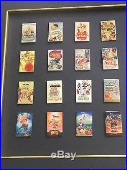 Disney DLR 75th Anniversary One Sheets Framed 37 Pin Set Disneyland LE