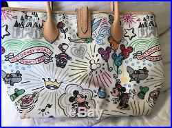 Disney Dooney And Bourke Theme Park Sketch Tote with wristlet