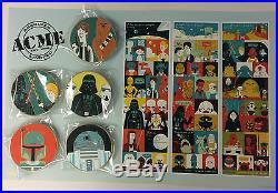 Disney HK Acme HotArt STAR WARS Trilogy 5 Pin & Litho LE 250 Darth Vader Luke