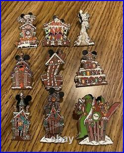 Disney Haunted Mansion Holiday Gingerbread Mystery Pin Collection FULL SET