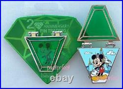Disney LE Pin Trading 20th Anniversary Mickey Emerald Green Countdown #1 2020