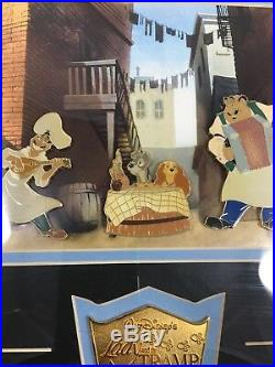 Disney Limited Edition 2500 Lady and the Tramp Tonys Restaurant 4 Pin Framed Set