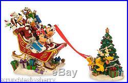 Disney Mickey Mouse Sleigh Pluto Reindeer Christmas Tree Figurine Theme Parks