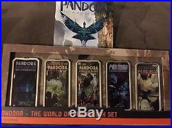 Disney Pandora 5 Poster Pin Set Limited Edition of 250 And Opening Day Park Map