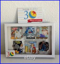 Disney Pixar Party Pin Event Pixar Villains 6 Pin Box Set Le 300 + Giftcard
