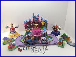 Disney Polly Pocket Magic Kingdom Theme Park Castle Train Dumbo Ride People Lot