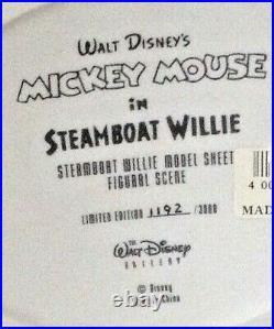 Disney STEAMBOAT WILLIE Figural MODEL SHEET Figurine Mickey Mouse LE BOX COA