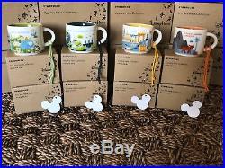 Disney Starbucks NEW Set of 4 theme Park Mug Ornaments