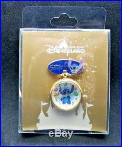 Disney Stitch Pin Limited Ed. Lapel Working Watch Hong Kong Disneyland Pin NIP