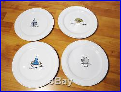 Disney Theme Parks Retired Dinner Plate Set of 4 Magic Kingdom Epcot MGM NEW