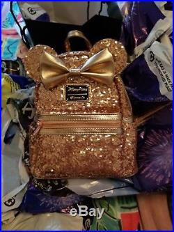 Disney Theme Parks Rose Gold Minnie Sequin Small Backpack by Loungefly New