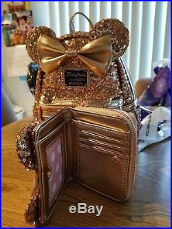 Disney Theme Parks Rose Gold Minnie Sequin Wallet and backpack by Loungefly-New