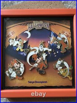 Disney Tokyo Disneyland Halloween 2003 Fab 5 with Ghosts Pin Set HTF Rare