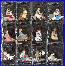 Disney WDI D23 Princess Heroine Dog Pin Set LE 250 Set, Belle, Ariel, Mulan