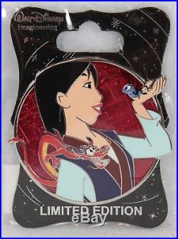Disney WDI Imagineering LE 250 Pin Heroines Profile Mulan Mushu Cri-kee Cricket