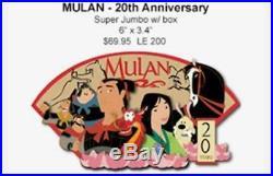 Disney WDI LE 200 Mulan 20th Anniversary Jumbo Pin with box