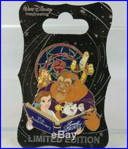 Disney WDI LE Pin 25th Anniversary Beauty and the Beast Belle Stained Glass Book