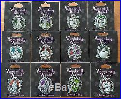 Disney Wonderfully Wicked Villains Complete 12 Pin Set Maleficent Evil Queen Le