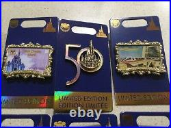 Disney World 50th Anniversary Postcard 4 Pin Set Limited Edition Castle & Logo