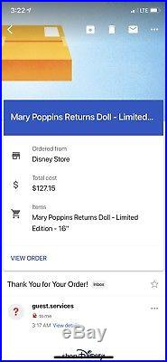 Disney store Limited Edition Mary Poppins Returns Doll LE 4000 ORDER CONFIRMED