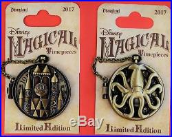 Disneyland 2017 Pocket Watch Magical Timepieces 4 Limited Edition Pins New Mint