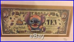 Disneyland 50th Disney Dollars $1 $5 $10 Cinderella Stitch Framed Pin Set LE 100