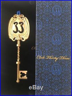 Disneyland Club 33 Large Gold Metal Key OrnamentBrand New in Deluxe Gift Box