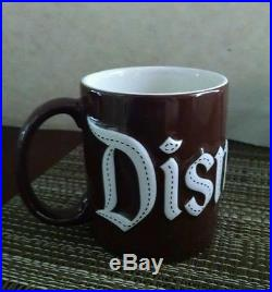 Disneyland Disney Theme Parks. Coffee Cup/mug Raised Letters Dark Brown Large