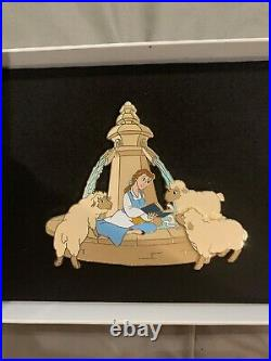 Disneyland Paris Belle Reading with Sheep at The Fountain Jumbo Pin LE 400