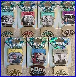 Disneyland Silver Diamond 60th Anniversary Walt Disney Pin Complete Set 7 AP