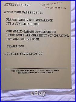 Disneyland WDW Disney Jungle Cruise Attraction Sign Original Theme Parks WDI