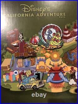 Disneys California Adventure Original Park LE 100 Framed Pin Set 8 Pins RARE
