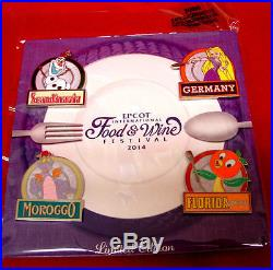 Epcot Flower and Garden 2017 Festival MAP & Food Wine 2014 Disney Pin Set LE New