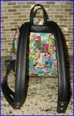 Euc Disney Parks Collage Loungefly Theme Mini Backpack Black Faux Leather Gift