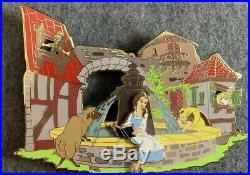 Jumbo Belle Reading by Fountain Fantasy Pin LE /75 Disney Beauty Sheep HTF Rare