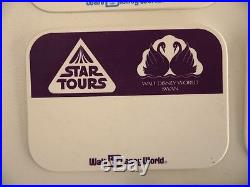 LOT NOS VINTAGE STAR TOURS blank cast badge pin SWAN & DOLPHIN wars DISNEY WORLD