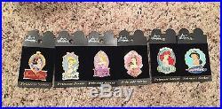 Lot of 6 Disneyland Resort Disney Princess Portrait Pins-NEW