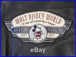 Men's Leather Jacket Coat Size 3XL Walt Disney World with Theme Park Patches