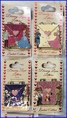 NEW Disney Love Letters Pin Set Limited LE Princesses Princes Valentine Complete