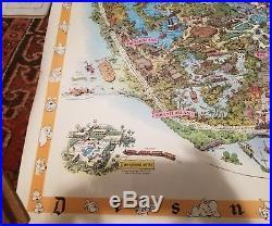 RARE 1958C Walt Disney's DISNEYLAND USA MAP Theme Park SouvenirPOSTER 30 X 45